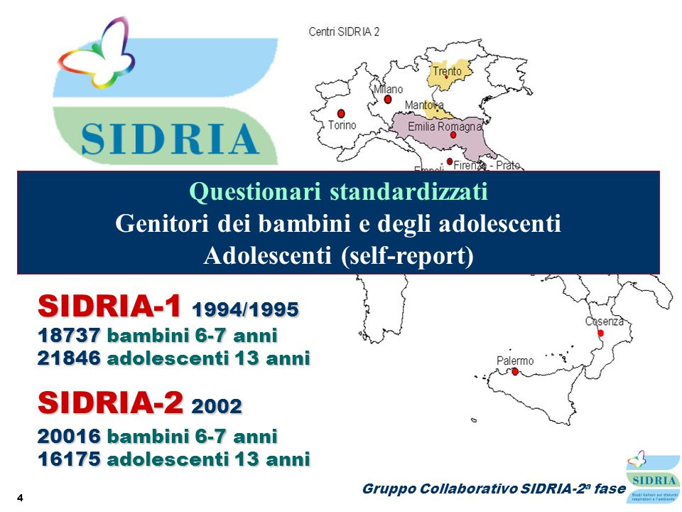 SIDRIA-1 1994/1995 SIDRIA-2 2002 Questionari standardizzati