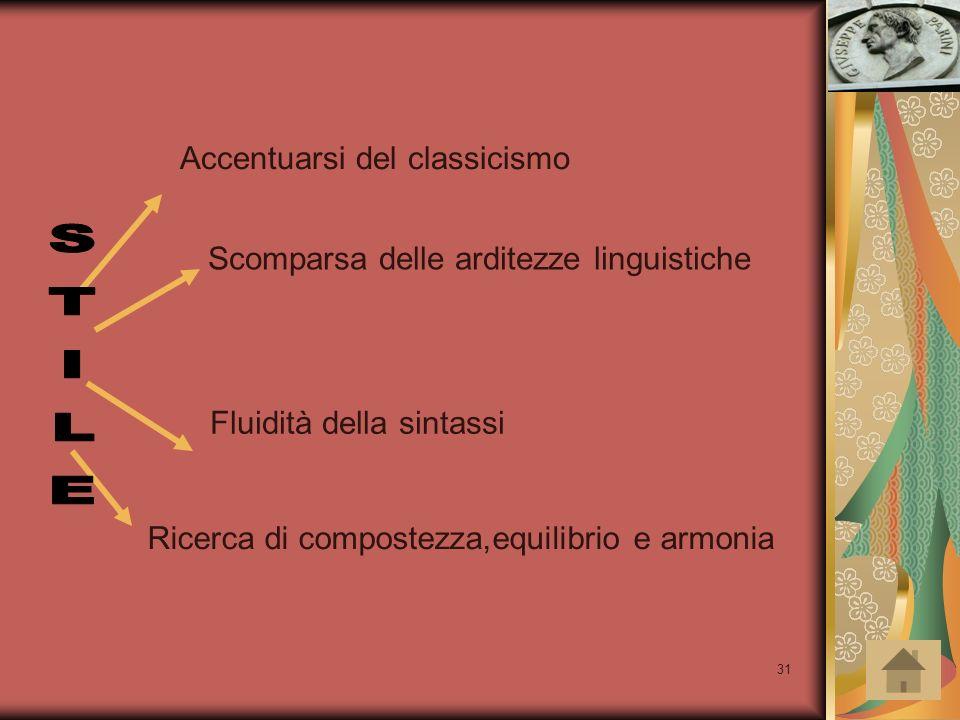 STILE Accentuarsi del classicismo