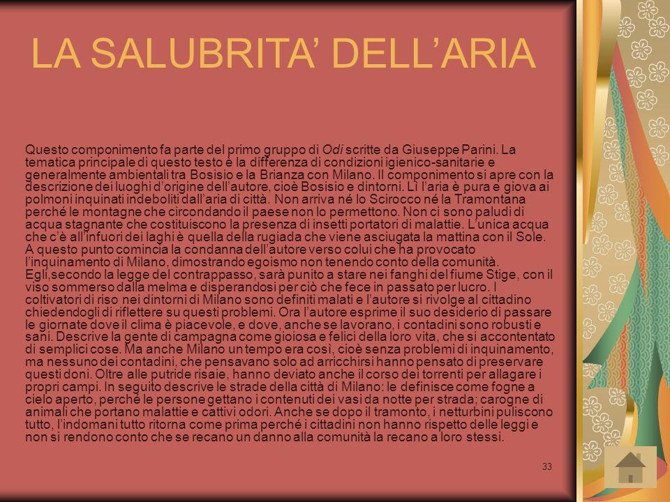 LA SALUBRITA' DELL'ARIA