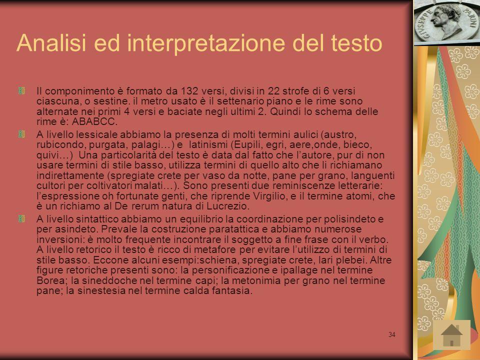 Analisi ed interpretazione del testo