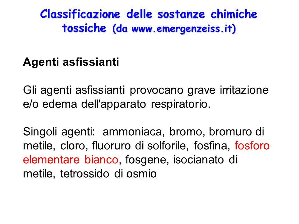 Classificazione delle sostanze chimiche tossiche (da www. emergenzeiss