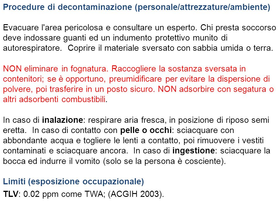 Procedure di decontaminazione (personale/attrezzature/ambiente)