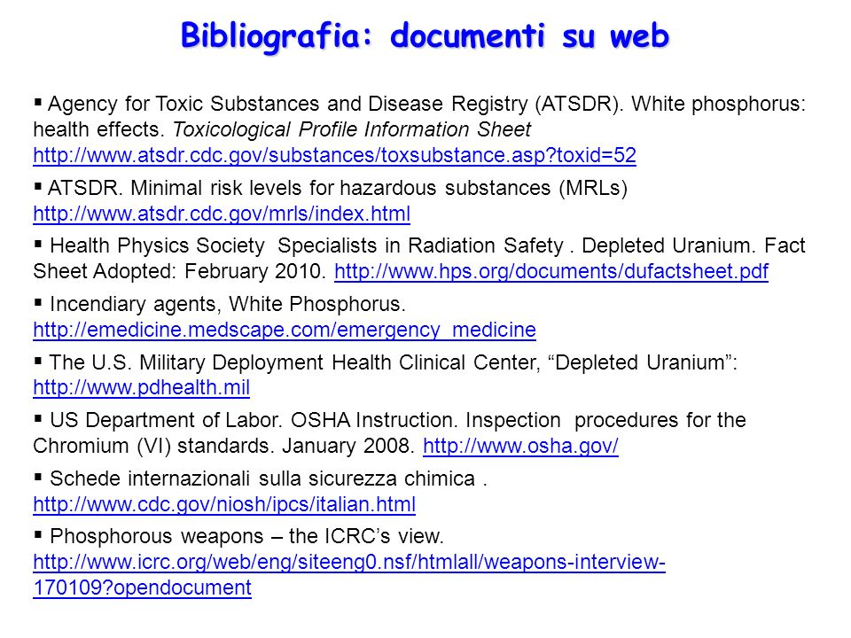 Bibliografia: documenti su web