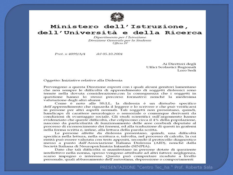 PRESENTAZIONE Centro Tec_ha Prof. Roberta Sala