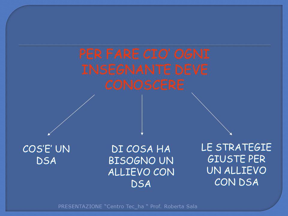 PER FARE CIO' OGNI INSEGNANTE DEVE CONOSCERE