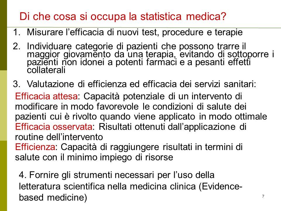 Di che cosa si occupa la statistica medica
