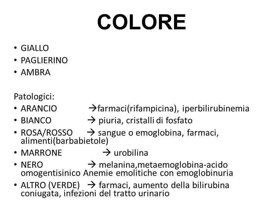 COLORE GIALLO PAGLIERINO AMBRA Patologici:
