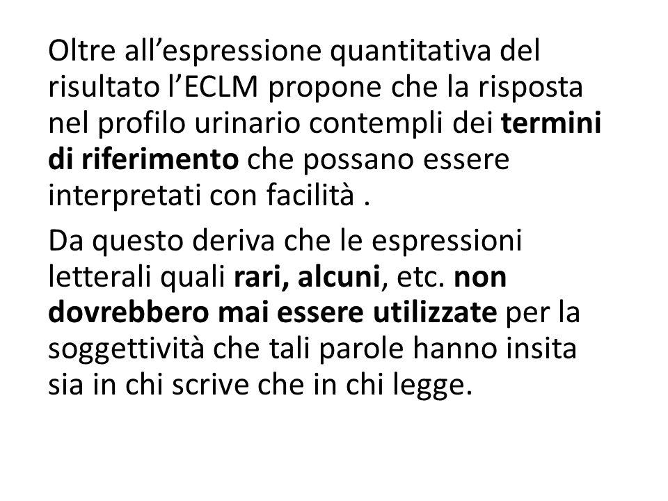 Oltre all'espressione quantitativa del risultato l'ECLM propone che la risposta nel profilo urinario contempli dei termini di riferimento che possano essere interpretati con facilità .