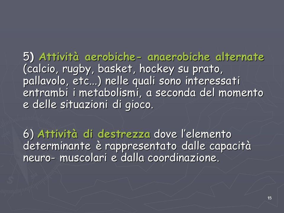 5) Attività aerobiche- anaerobiche alternate (calcio, rugby, basket, hockey su prato, pallavolo, etc...) nelle quali sono interessati entrambi i metabolismi, a seconda del momento e delle situazioni di gioco.