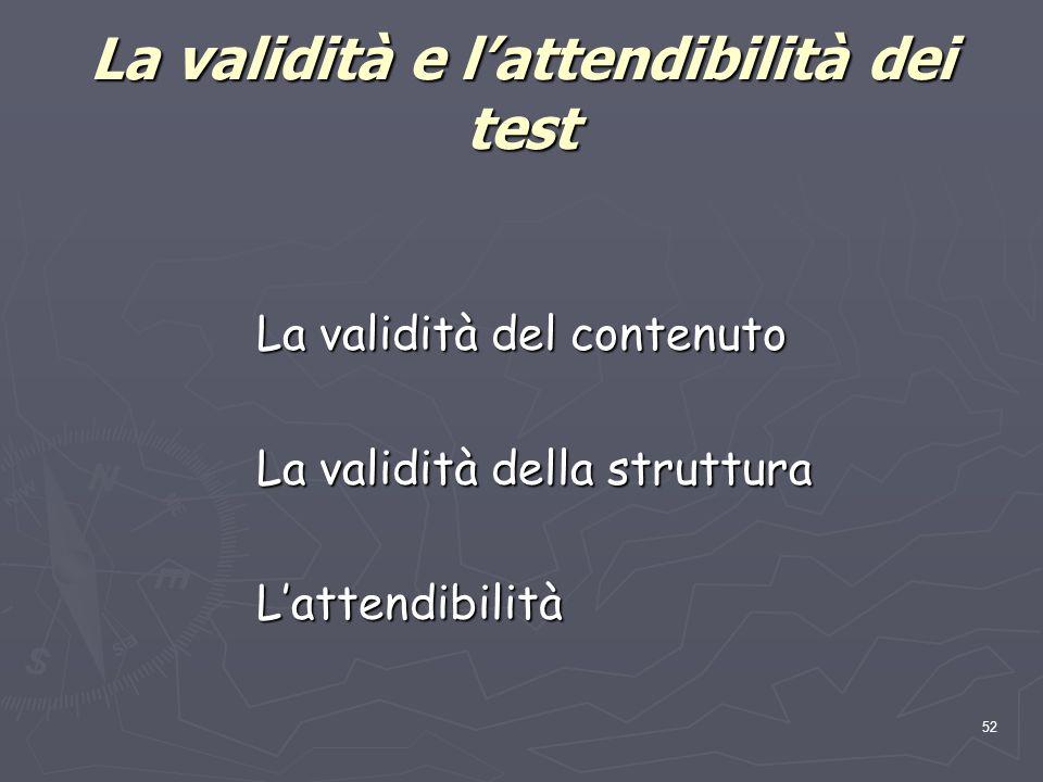 La validità e l'attendibilità dei test