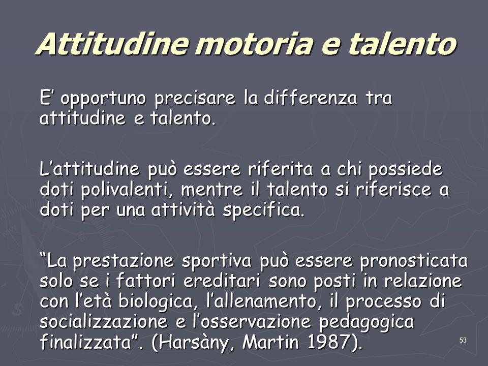 Attitudine motoria e talento