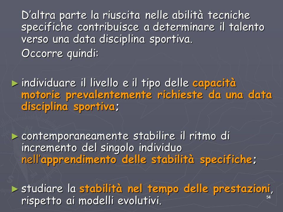 D'altra parte la riuscita nelle abilità tecniche specifiche contribuisce a determinare il talento verso una data disciplina sportiva.