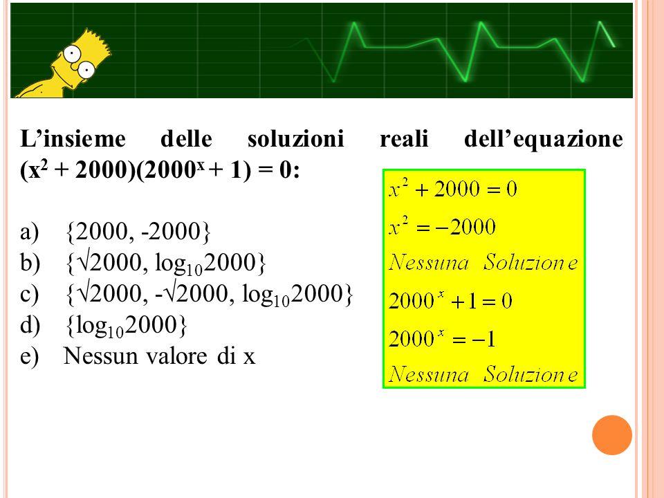 L'insieme delle soluzioni reali dell'equazione (x2 + 2000)(2000x + 1) = 0: