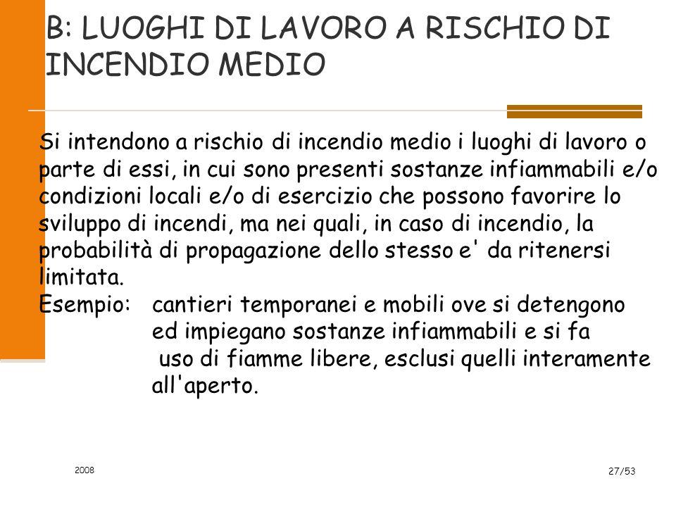 B: LUOGHI DI LAVORO A RISCHIO DI INCENDIO MEDIO