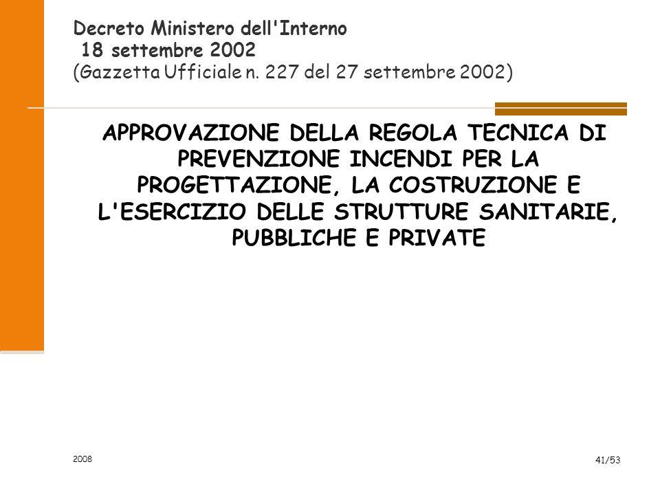 Decreto Ministero dell Interno 18 settembre 2002 (Gazzetta Ufficiale n