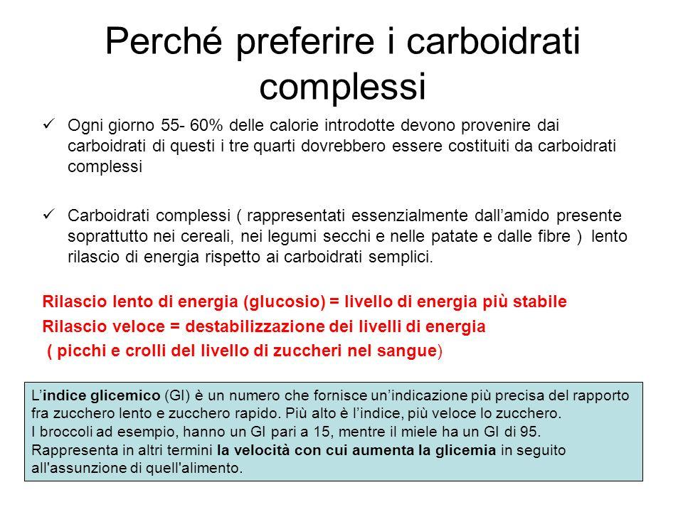 Perché preferire i carboidrati complessi