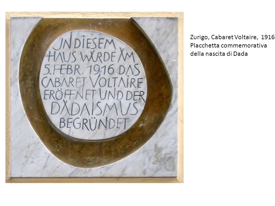 Zurigo, Cabaret Voltaire, 1916 Placchetta commemorativa