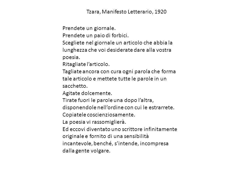 Tzara, Manifesto Letterario, 1920