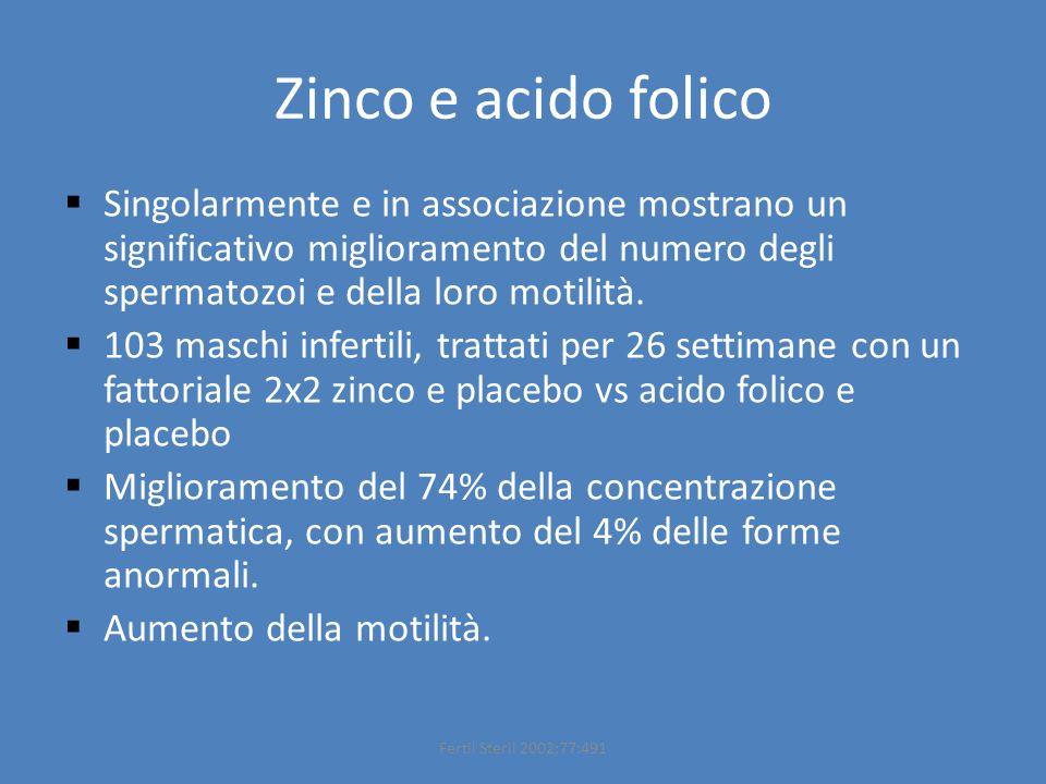 Zinco e acido folico Singolarmente e in associazione mostrano un significativo miglioramento del numero degli spermatozoi e della loro motilità.