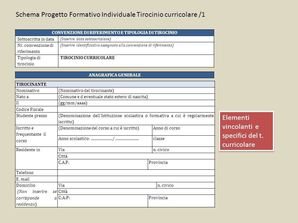 CONVENZIONE DI RIFERIMENTO E TIPOLOGIA DI TIROCINIO