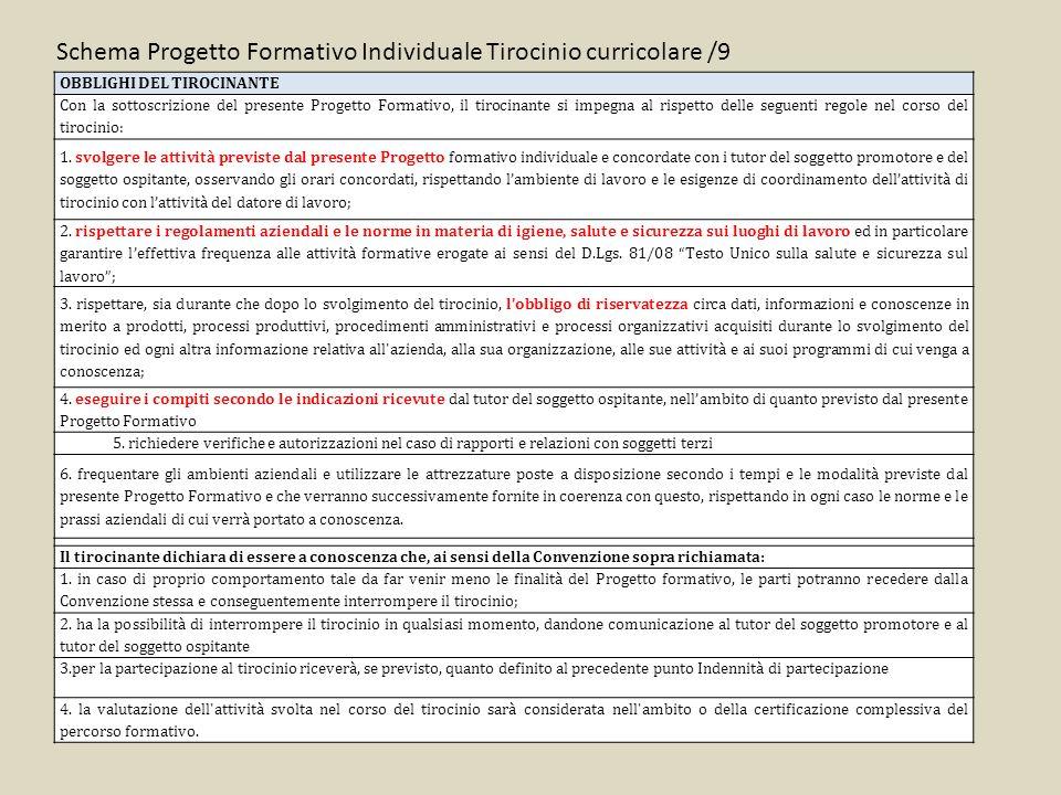 Schema Progetto Formativo Individuale Tirocinio curricolare /9