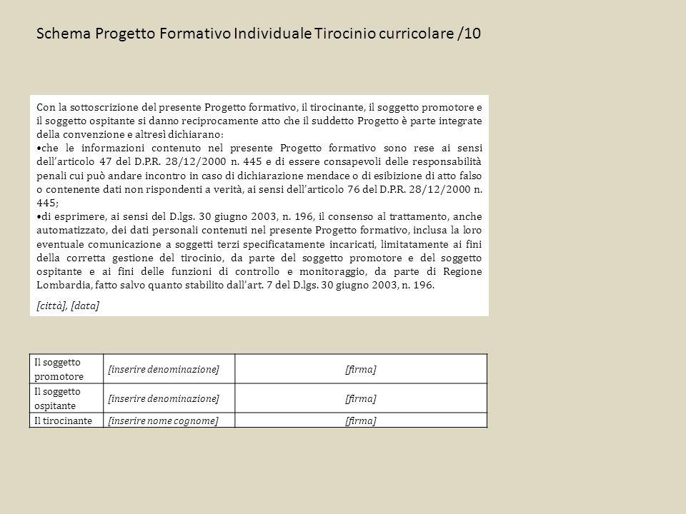 Schema Progetto Formativo Individuale Tirocinio curricolare /10