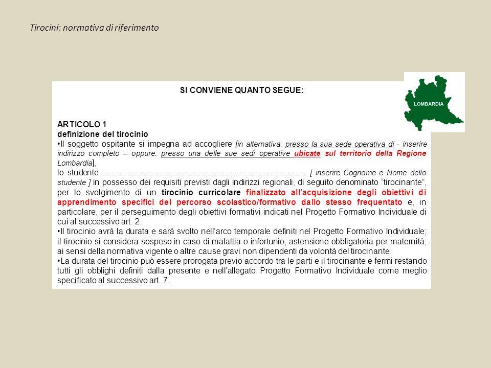 Tirocini: normativa di riferimento