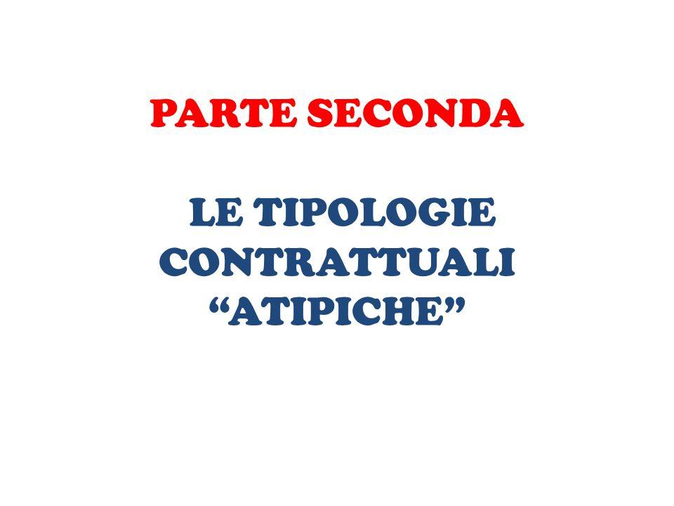 PARTE SECONDA LE TIPOLOGIE CONTRATTUALI ATIPICHE