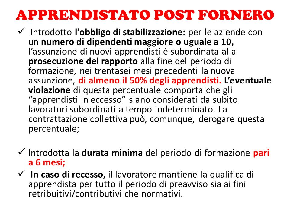 APPRENDISTATO POST FORNERO