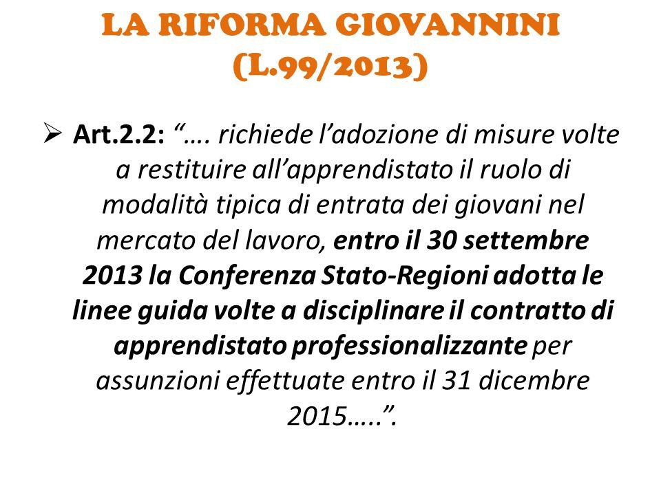 LA RIFORMA GIOVANNINI (L.99/2013)