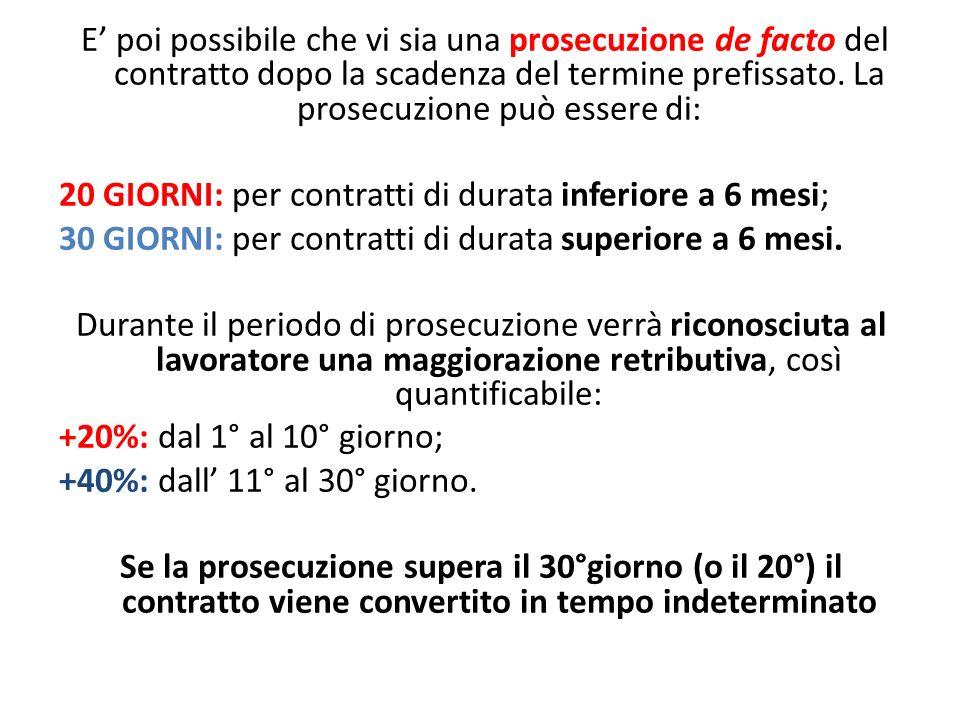 E' poi possibile che vi sia una prosecuzione de facto del contratto dopo la scadenza del termine prefissato.