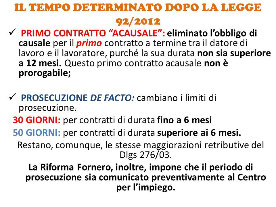 IL TEMPO DETERMINATO DOPO LA LEGGE 92/2012