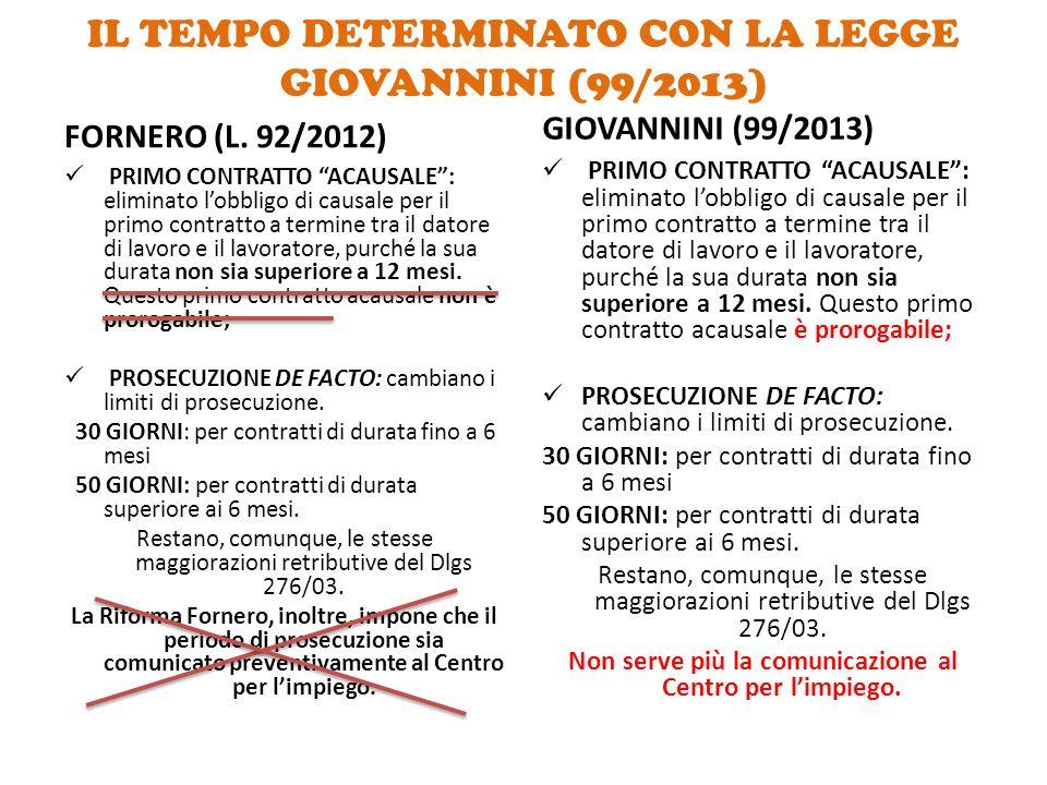 IL TEMPO DETERMINATO CON LA LEGGE GIOVANNINI (99/2013)
