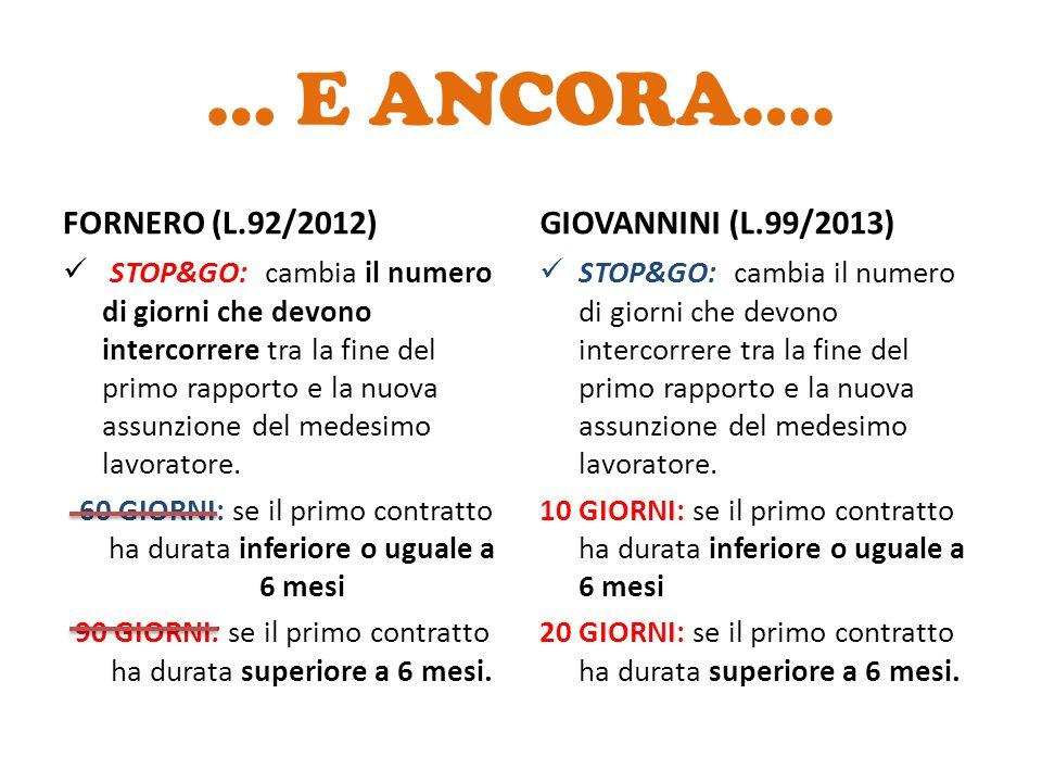 … E ANCORA…. FORNERO (L.92/2012) GIOVANNINI (L.99/2013)