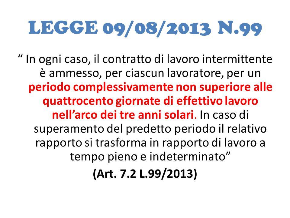 LEGGE 09/08/2013 N.99