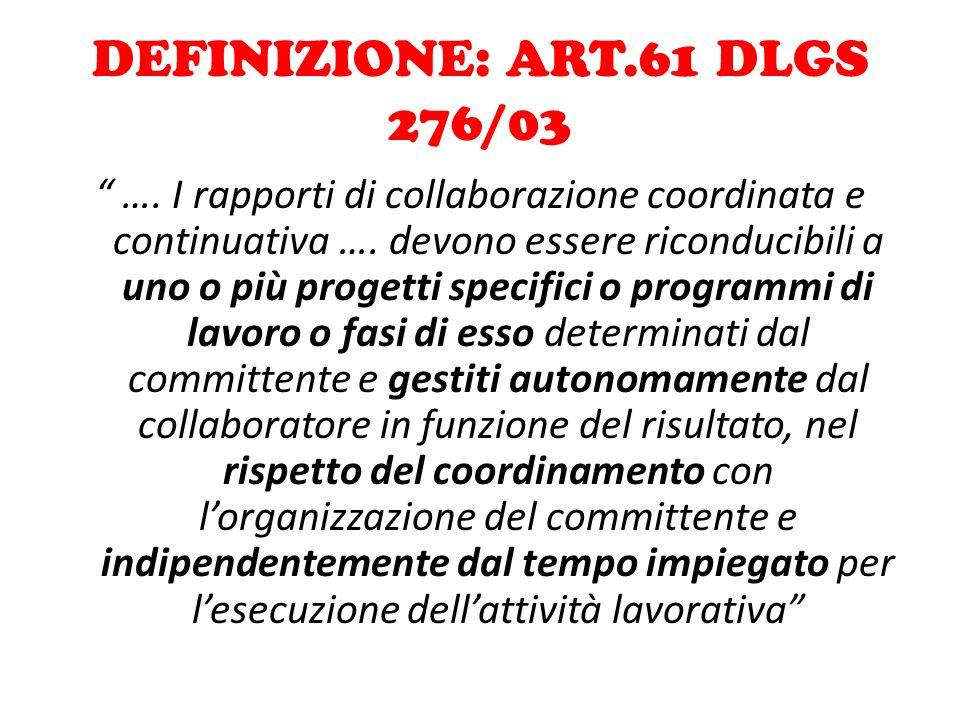 DEFINIZIONE: ART.61 DLGS 276/03