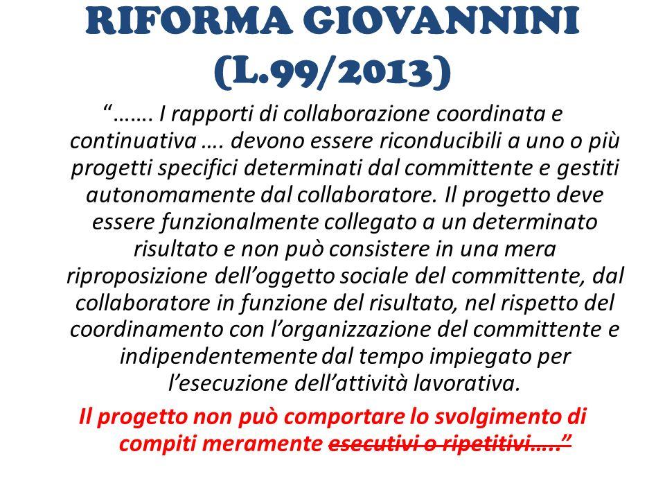RIFORMA GIOVANNINI (L.99/2013)