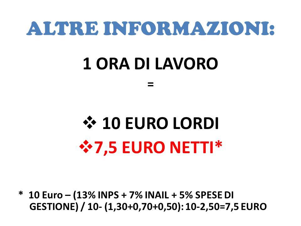 ALTRE INFORMAZIONI: 1 ORA DI LAVORO 10 EURO LORDI 7,5 EURO NETTI* =