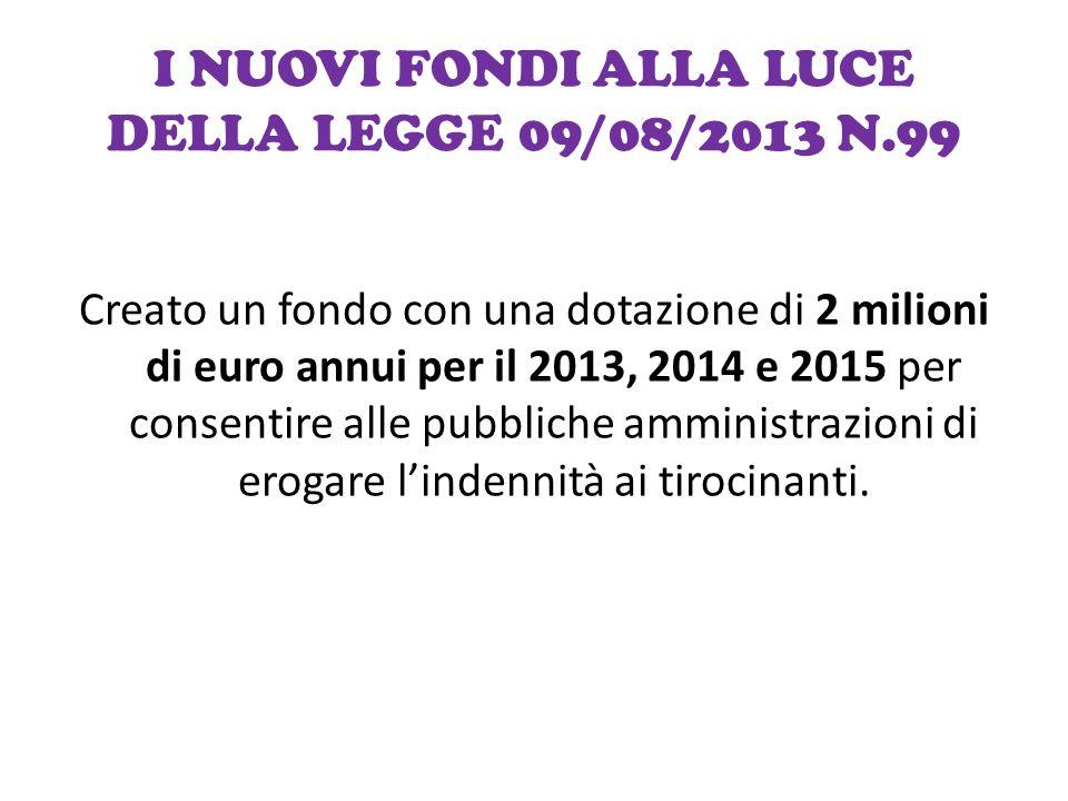 I NUOVI FONDI ALLA LUCE DELLA LEGGE 09/08/2013 N.99