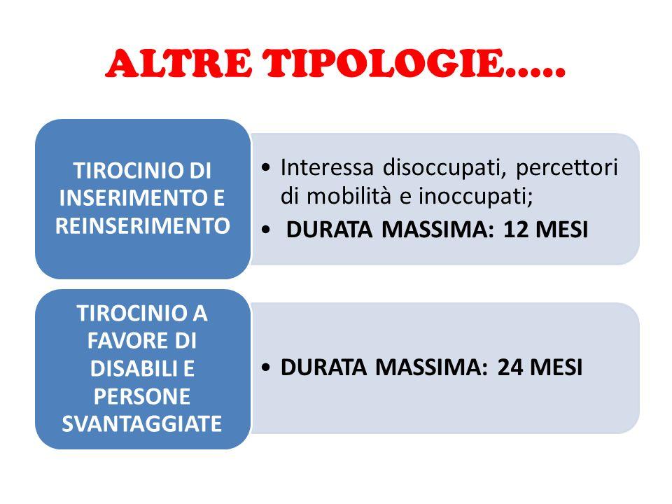 ALTRE TIPOLOGIE….. TIROCINIO DI INSERIMENTO E REINSERIMENTO