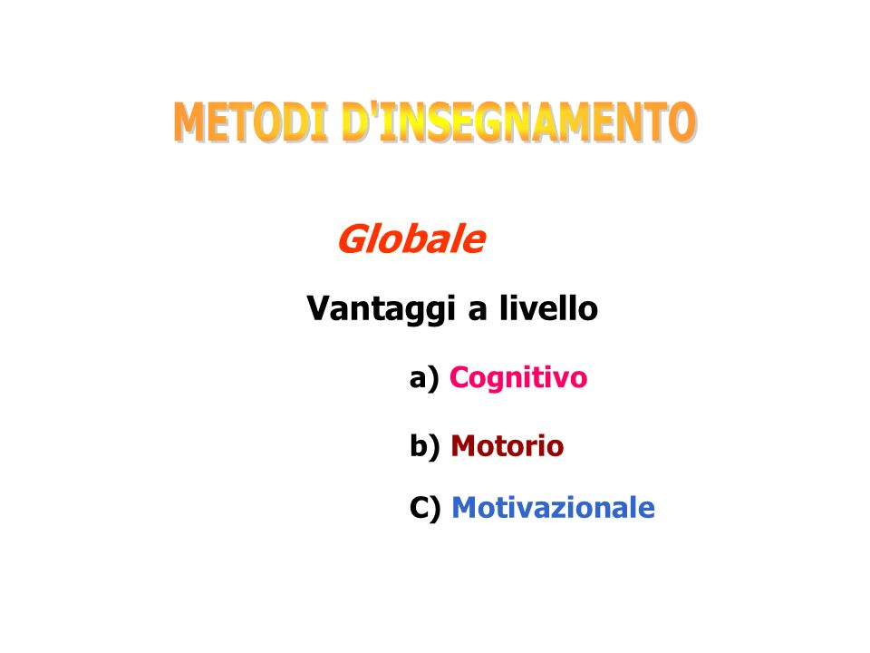 Globale METODI D INSEGNAMENTO Vantaggi a livello a) Cognitivo