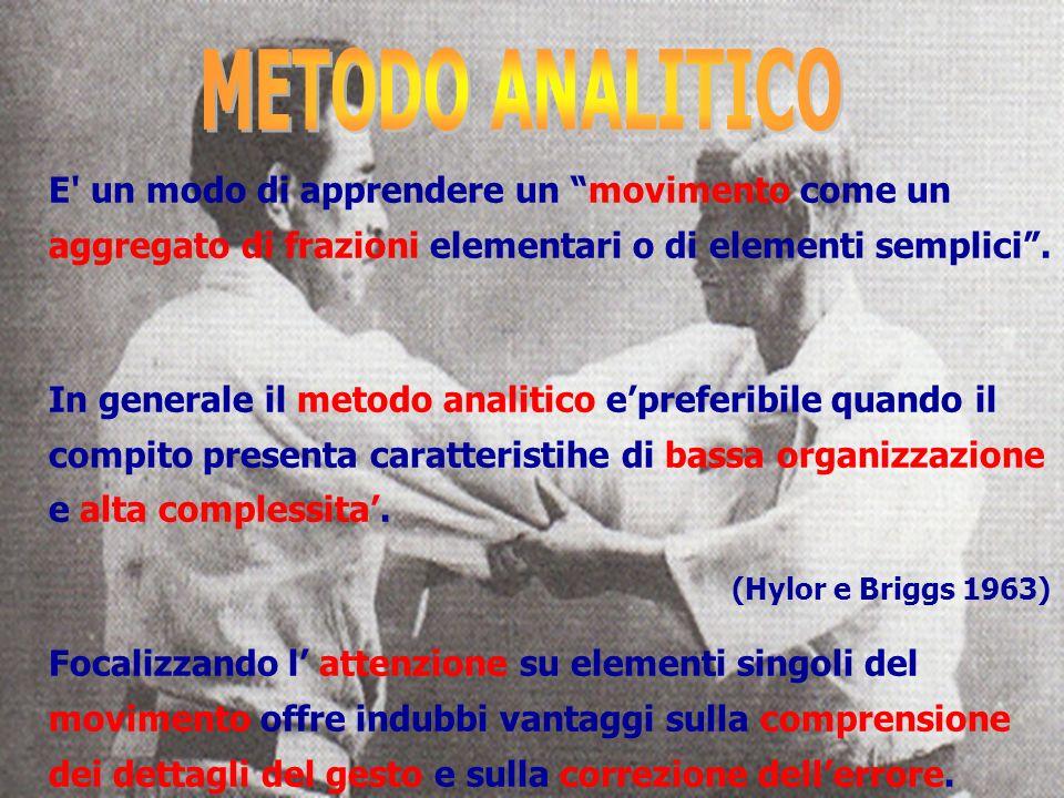 METODO ANALITICO E un modo di apprendere un movimento come un aggregato di frazioni elementari o di elementi semplici .