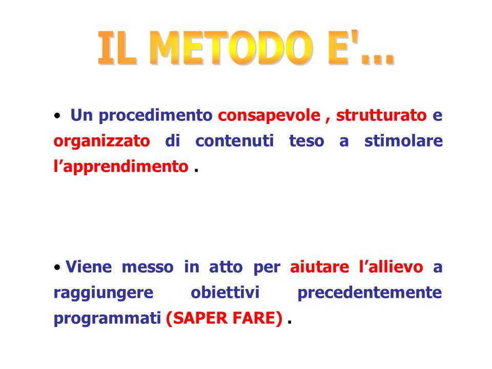 IL METODO E ... Un procedimento consapevole , strutturato e organizzato di contenuti teso a stimolare l'apprendimento .