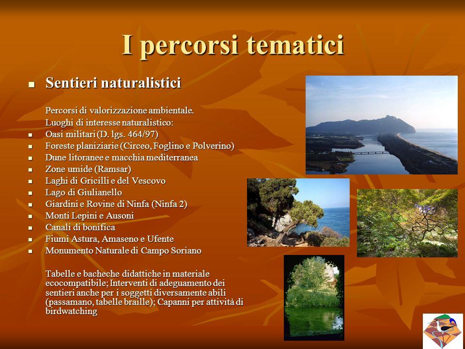 I percorsi tematici Sentieri naturalistici