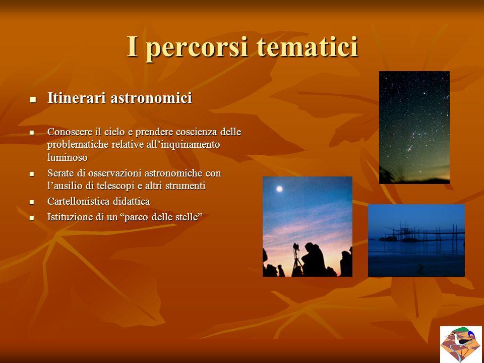 I percorsi tematici Itinerari astronomici