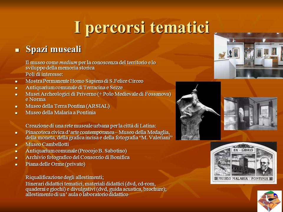 I percorsi tematici Spazi museali Poli di interesse: