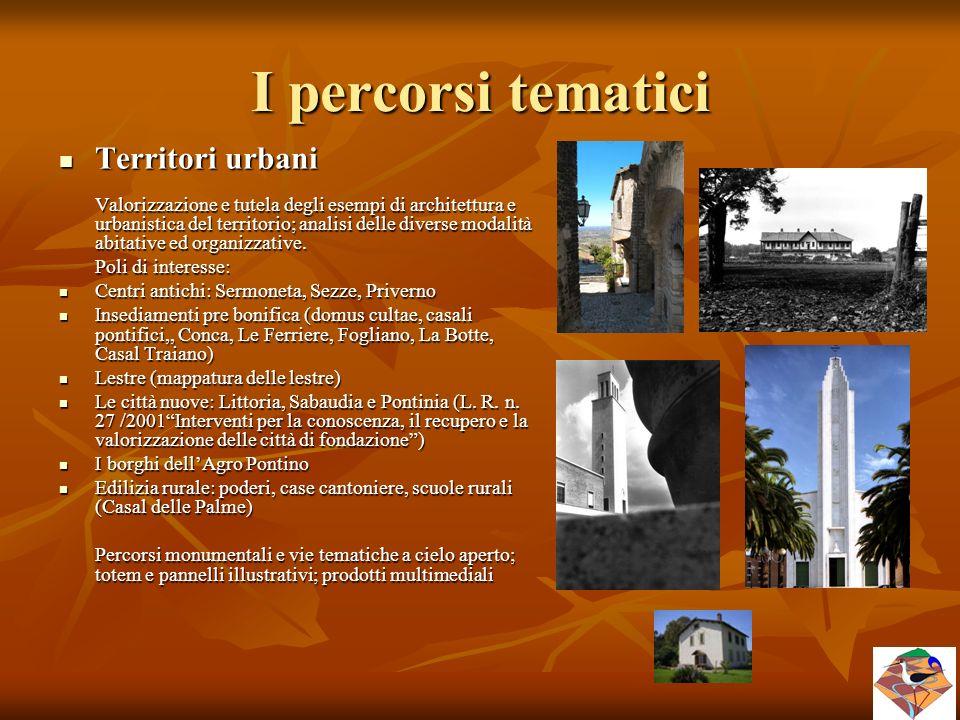 I percorsi tematici Territori urbani Poli di interesse:
