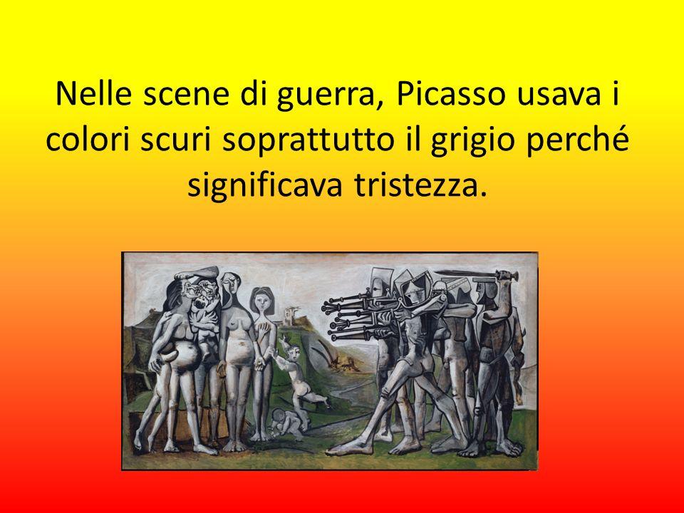 Nelle scene di guerra, Picasso usava i colori scuri soprattutto il grigio perché significava tristezza.