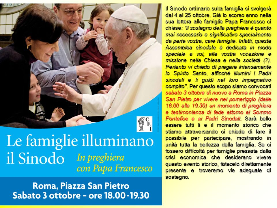 Il Sinodo ordinario sulla famiglia si svolgerà dal 4 al 25 ottobre