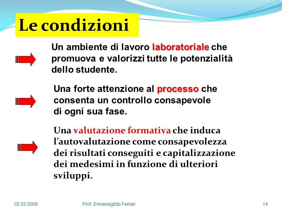 Le condizioni Un ambiente di lavoro laboratoriale che promuova e valorizzi tutte le potenzialità dello studente.
